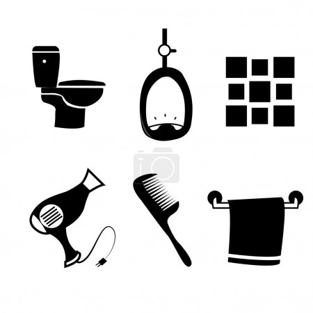 Illustration for A set of black silhouettes of different bathroom elements - Royalty Free Image