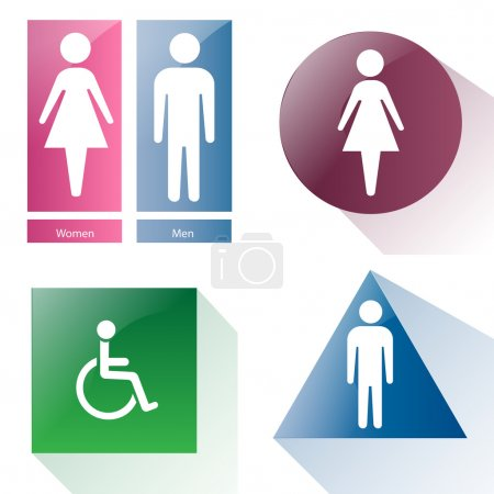 Illustration for A set of different bathroom signals on a white background - Royalty Free Image