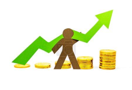 Photo pour Graphique monétaire pointant vers le haut avec la personne qui le soutient - image libre de droit