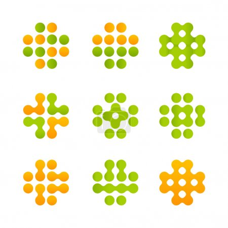 Set of green and orange vector mosaic crosses. Coloful medical i