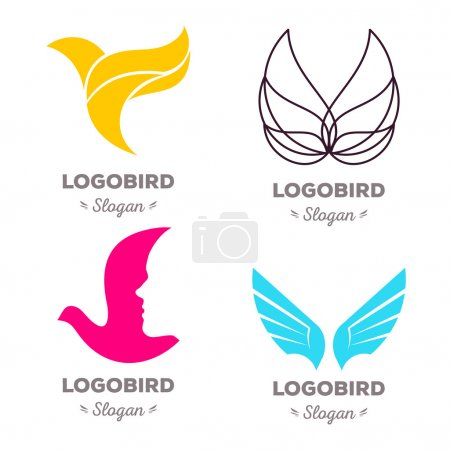 Illustration for Isolated colorful flying birds vector logo set. Animal logotypes collection. Wings contour illustration. Pigeon silhouette. Eagle icon. - Royalty Free Image
