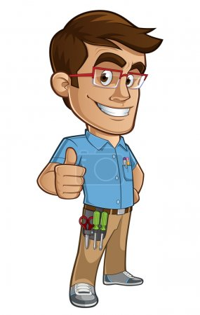 Illustration for Sympathetic technician computers, wears glasses and tools - Royalty Free Image