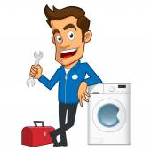 Appliance repair expert he has a toolbox and a washing machine