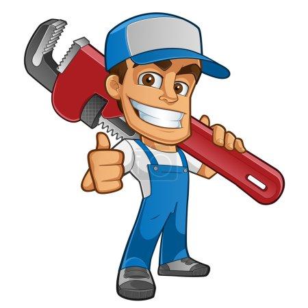 Illustration pour Amical plombier, il est vêtu de vêtements de travail et portant un outil - image libre de droit