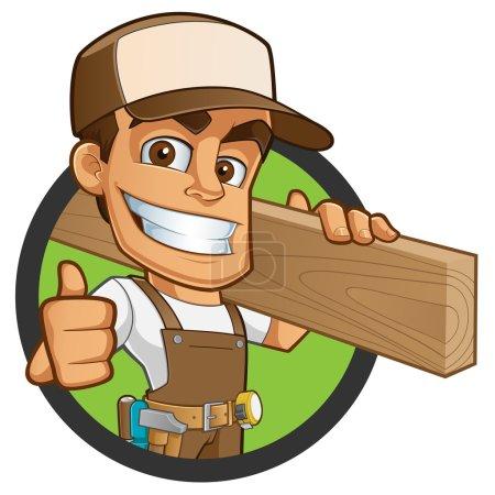 Illustration pour Amical charpentier, il est vêtu de vêtements de travail et portant un bois - image libre de droit