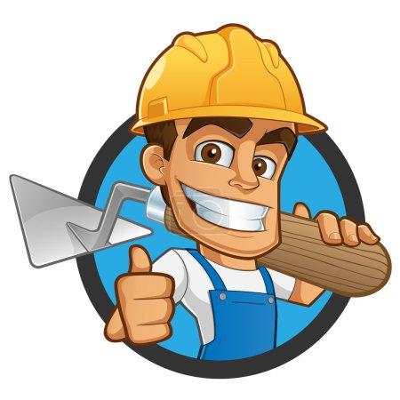 Illustration pour Maçon simple vêtu de vêtements de travail, il porte un casque et une truelle - image libre de droit