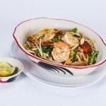 Dry noodles with shrimpl. Selective focus.Thai foo...