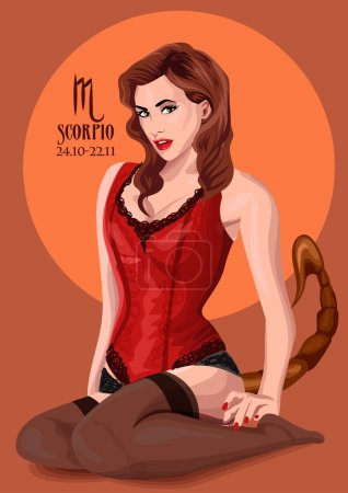 Zodiac: Scorpio astrological sign.  illustration with portrait of a pin up girl