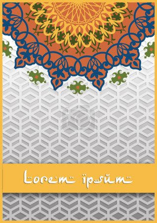Vintage greeting card with swirls and floral motifs in retro style. Template frame design for card.  Arabic style