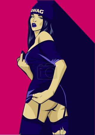 Rap music girl. Pretty Young Urban Rap Girl. Lady Vector artwork. Pop Art comic style.