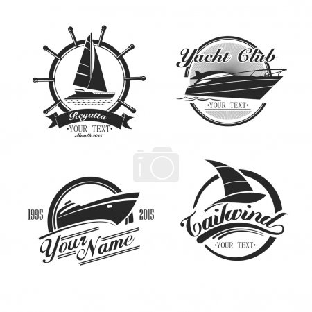Vintage icons yachts and sailboats