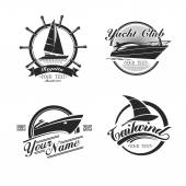 Vintage icons yachts and sailboats