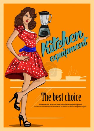 Retro poster of kitchen equipment. With  beautiful woman in a red dressVector commercial illustration
