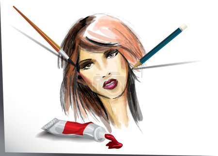Drawing female face watercolor. Pencil and paint brush