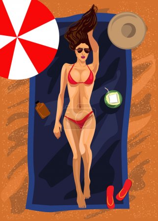 Young woman lies in summer on the beach. Vector illustration.