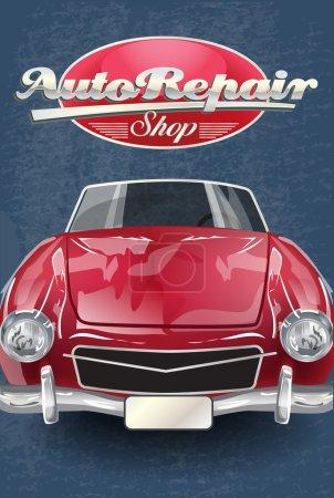 Illustration pour Atelier de réparation automobile affiche rétro . - image libre de droit