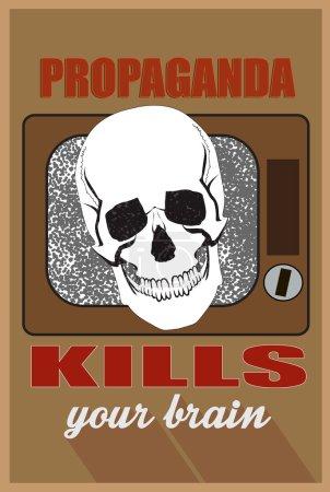 Illustration pour Concept pour les médias de masse, la propagande tue votre cerveau - image libre de droit