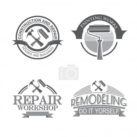 Home repair panting service  design labels set with black tools icons isolated  vector illustration