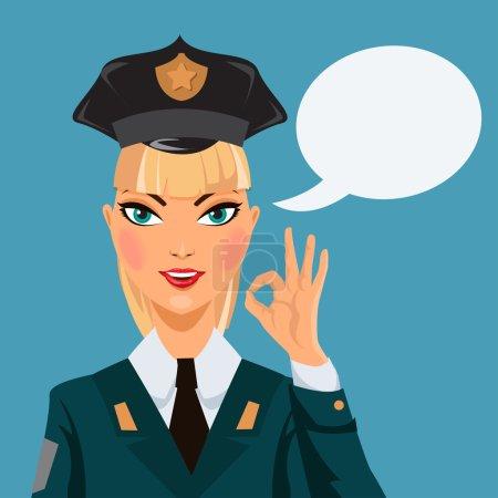 Beautiful  police woman. Vector illustration