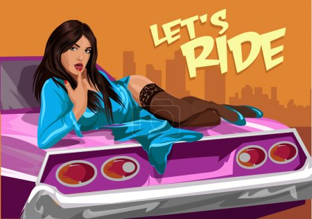 Illustration for Young sexy woman in blue dress with car. - Royalty Free Image