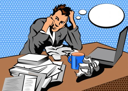 Illustration for Stressful business man in office with too many stack of paper and folder on his desk. Pop art style. - Royalty Free Image