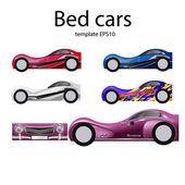 Illustration of different bed cars design for boys