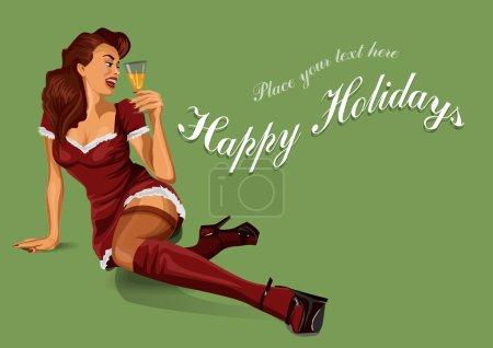Illustration pour Pin Up fille de Noël avec champagne - image libre de droit