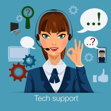 Illustration pour Tech support femme opérateur de centre d'appels - image libre de droit