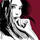 Girl crying woman face Human emotions Vector illustration