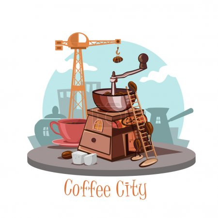 Coffee city. Banner with a coffee grinder and coffee beans, a cup of fresh coffee