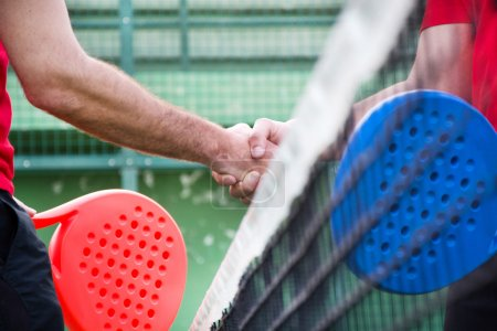 Friends shaking hands in paddle tennis field
