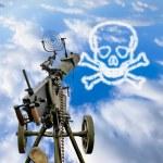 Постер, плакат: Maxim machine gun is pointed in a blue sky