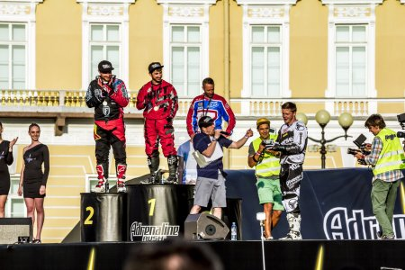 Rewarding winners at Adrenaline Rush Moto freestyle show on the