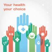 Zdravého životního stylu pozadí s sadu ikon a rukama