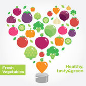 Vegetables and fruits round flat icons in heart