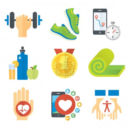 Illustration for Sport and healthy life concept flat icon set of jogging, gym, food, metrics etc. Isolated vector illustration, modern design element - Royalty Free Image