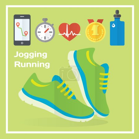 Jogging and running concept flat icons