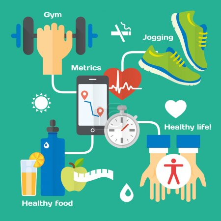 Illustration for Healthy life concept flat icons of jogging, gym, healthy food, metrics. Isolated vector illustration and modern design element - Royalty Free Image