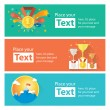Vector success and win concept banners. Modern vec...