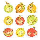 Set of nine fruit pictures