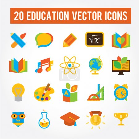 Illustration for Set of 20 education vector icons for school, college, university. Flat fullcolored images - Royalty Free Image