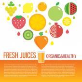 Fresh juice colorful fruit icon