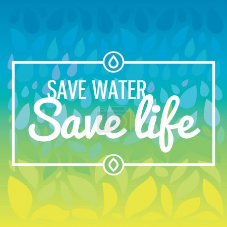 Illustration for Stylish vector illustration and modern design element. Save water - save life. Hand drawn drops and leaves background - Royalty Free Image
