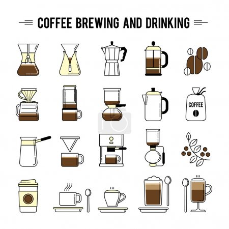 Coffee brewing methods icons