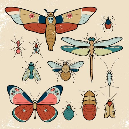 Illustration for Insects butterfly, moth, dragonfly, bee, fly, moths, cockroaches, bedbugs, mites, ants, mosquitoes, silverfish. Set of colorful vector insects. Collection of insects in a modern style mono line. - Royalty Free Image