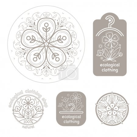 Illustration for Vector set template label style of organic design with image decorative flower flax. Organic vector. Modern illustration for stores of organic clothing, organic textiles, organic stuff for children. - Royalty Free Image