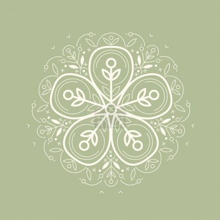 Illustration for Vector template style organic design image decorative flower flax. Organic vector on green background. Modern illustration for stores of organic clothing, organic textiles, organic stuff for children. - Royalty Free Image