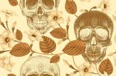 Seamless pattern with flowers and skulls
