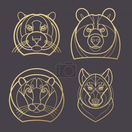 Image of tiger head, bear, lion, wolf.