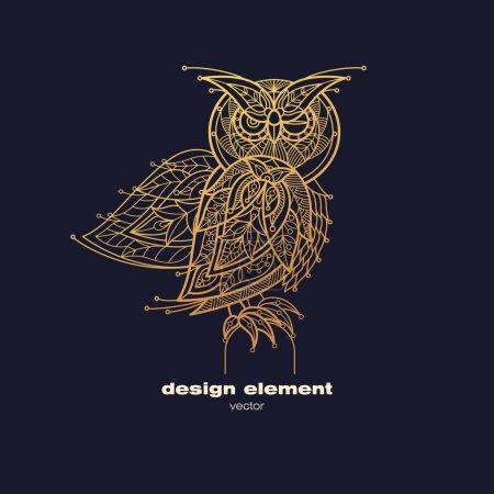 Vector image of decorative bird owl.